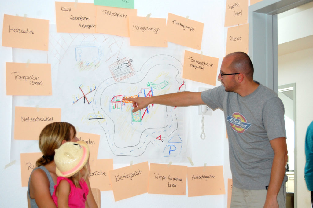 Eltern skizzieren Ideen für Außenanlagen