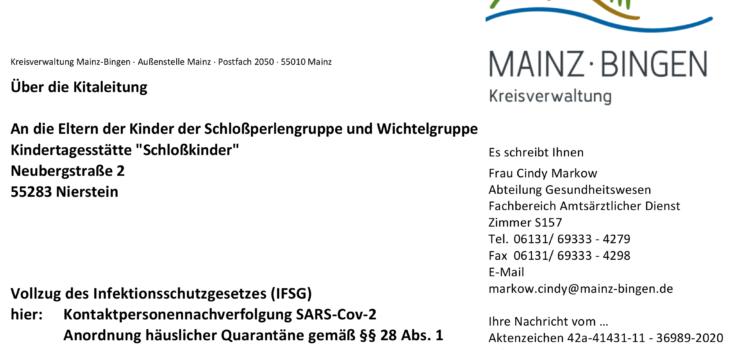 Positiver Covid-19 Fall. Quarantäneanordnung für die Gruppen Schlossperlen und Wichtel.