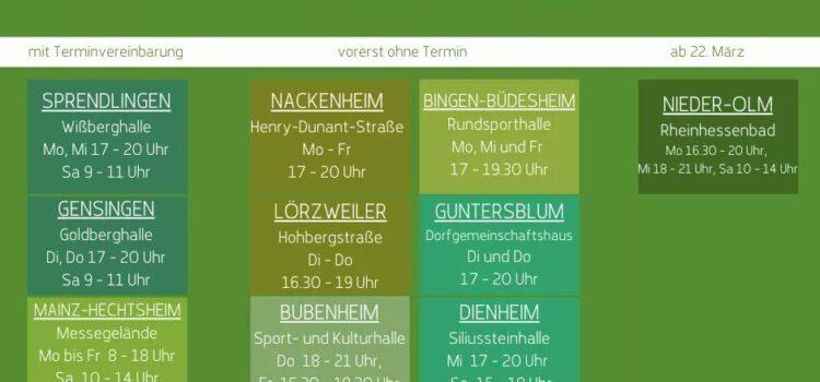 Schnelltestzentren im Landkreis Mainz-Bingen