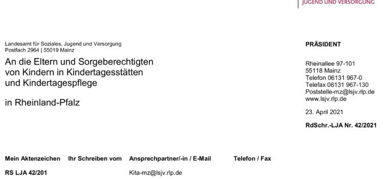 Elternanschreiben – Erweiterung des Infektionsschutzgesetzes und aktualisierter Hygieneplan der Kita Schwabsburg